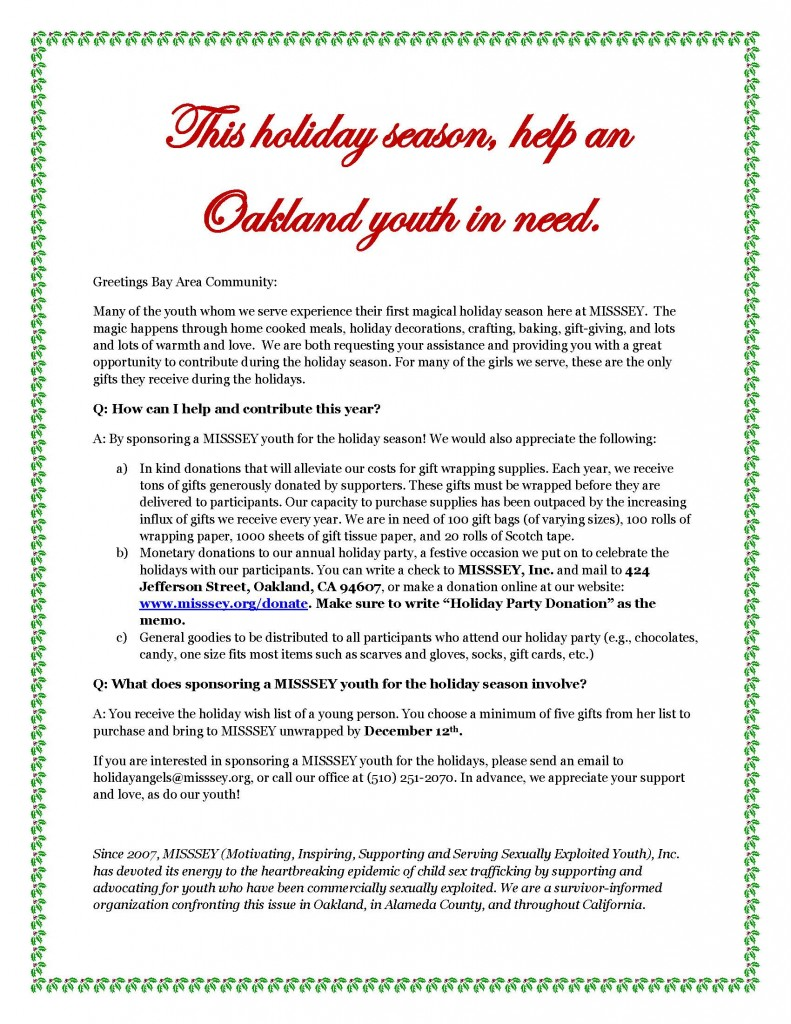 Holiday Angels flyer